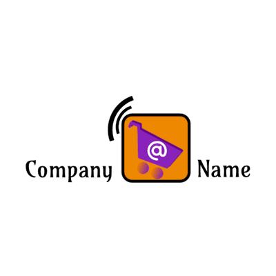 Logotipo del carrito en cuadrado naranja - Internet Logotipo