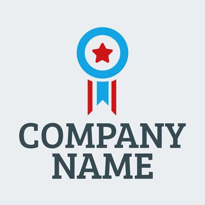 Logotipo medalla estrella azul y roja - Comunidad & Sin fines de lucro Logotipo