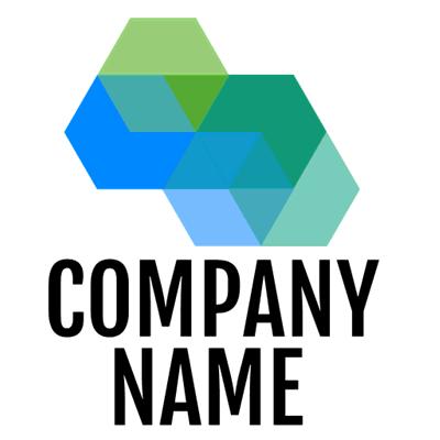 Green and blue hexagonal shapes logo - Abstract Logo