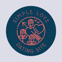 Logotipo del sitio de citas con corazón y rosa - Floral Logotipo