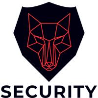 Logotipo de seguridad de lobo rojo con placa - Seguridad Logotipo