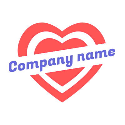 double heart logo with line - Dating Logo