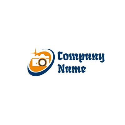 Camera logo with orange flash - Photography Logo