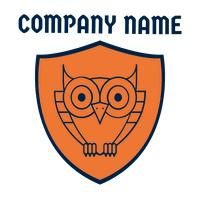 Orange badge logo with owl - Security Logo
