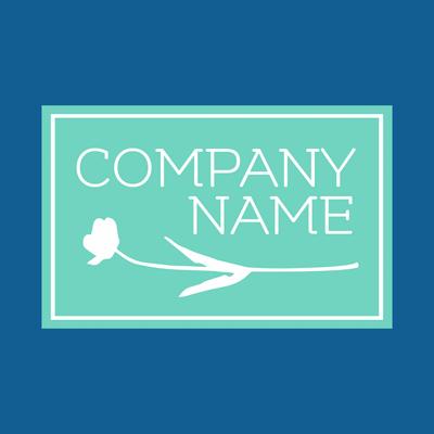 Logotipo de empresa con flor en rectángulo - Floral Logotipo