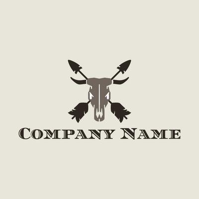 Logo toro marrón con flechas negras - Animales & Animales de compañía Logotipo