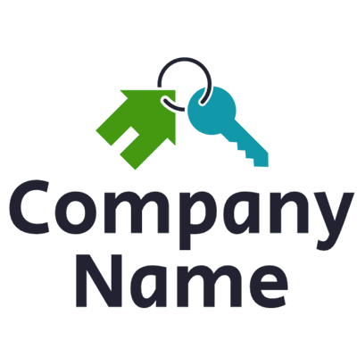 Logo of a keychain with a green house - Home Furnishings Logo