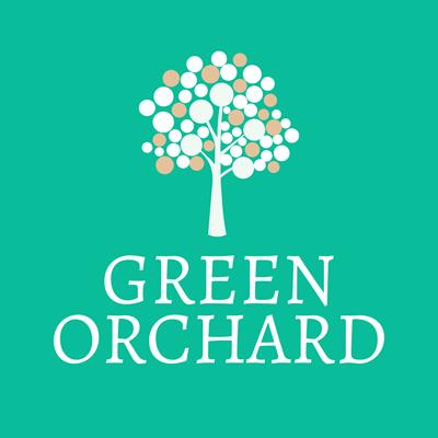 Logotipo huerto verde con manzanas - Agricultura Logotipo