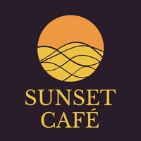 Logo café con sol y desierto - Agricultura Logotipo
