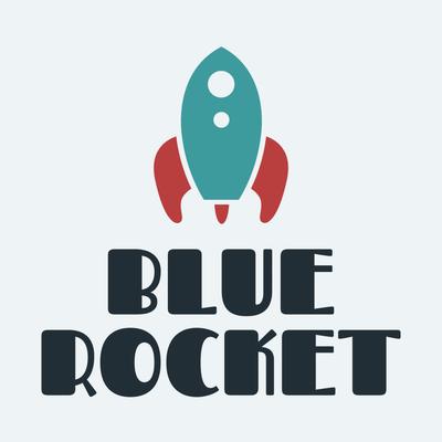 Rotes und blaues Raketenlogo - Kinder & Kinderbetreuung Logo
