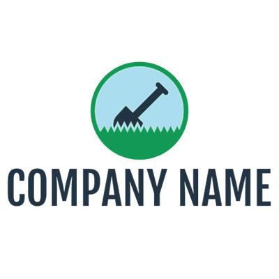 Logotipo de agricultura de pala y hierba - Agricultura Logotipo