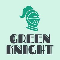Logotipo de casco de caballero verde - Seguridad Logotipo
