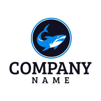 Logotipo de tiburón azul con círculo negro - Animales & Animales de compañía Logotipo