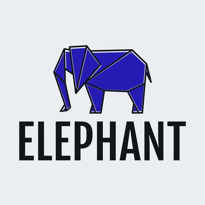 Logo origami elefante azul - Educación Logotipo