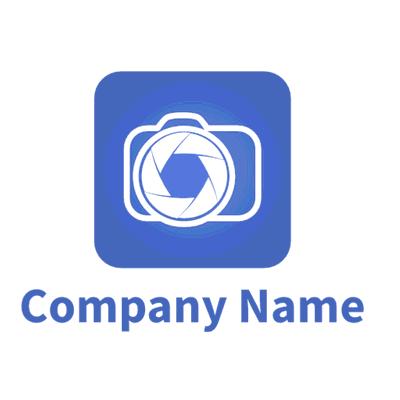 white camera on blue background logo - Photography Logo