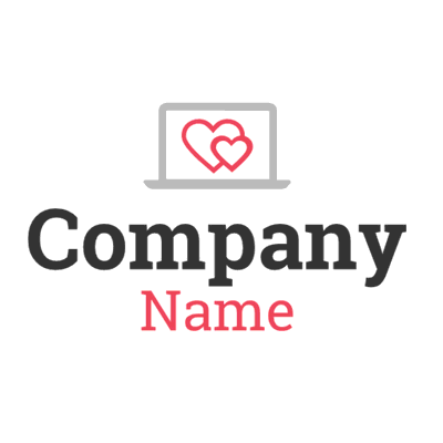 Dating logo with computer and hearts - Dating Logo