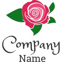 red rose and green leaf logo - Dating Logo