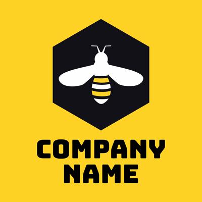 Bee in yellow honeycomb logo - Environmental & Green Logo