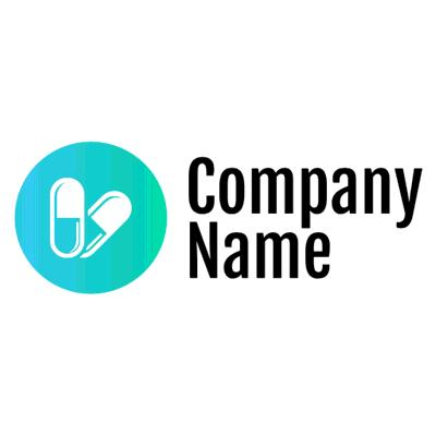 Blaue Pillen im Kreis-Logo - Medizin & Pharmazeutik Logo