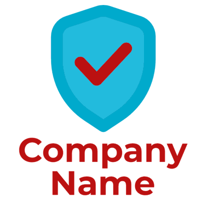badge logo blue with red check - Security Logo