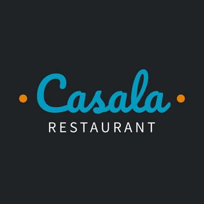 Logo with a blue and orange restaurant name - Food & Drink Logo