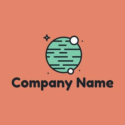 Logo planeta verde y lunas - Tecnología Logotipo