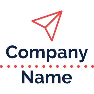 Logo con papel doblado en avión - Internet Logotipo