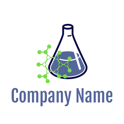 flask with green particles logo - Technology Logo
