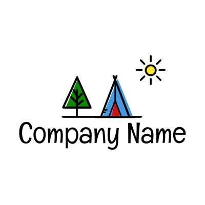 Logotipo camping soleado - Juegos & Entretenimiento Logotipo