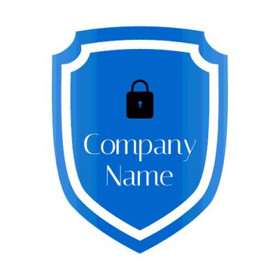 blue badge logo with black padlock - Security Logo