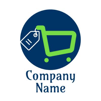Carrito verde con logo etiqueta - Internet Logotipo