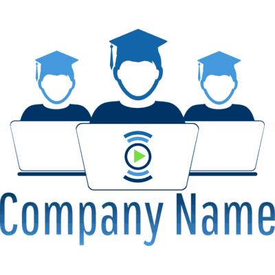 Logotipo de jóvenes graduados con ordenadores - Internet Logotipo