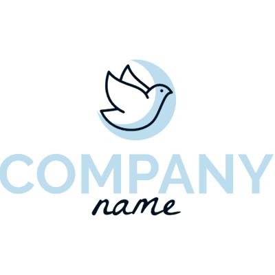 Logo con pájaro y luna azul - Religión Logotipo