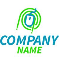 Logo con ratón azul y verde - Internet Logotipo