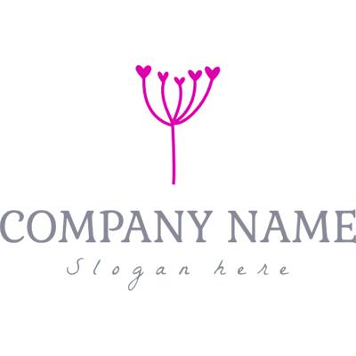 Delicado logotipo de planta rosa - Floral Logotipo
