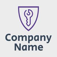 badge logo with purple key - Security Logo