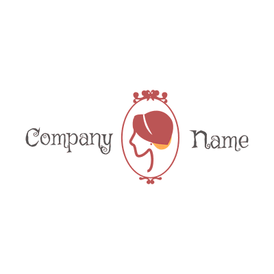Woman face logo in profile in a round - Photography Logo