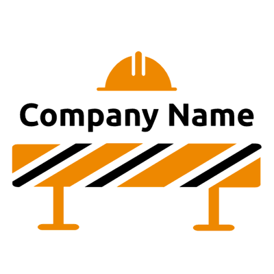 Construction logo with helmet and barrier - Security Logo